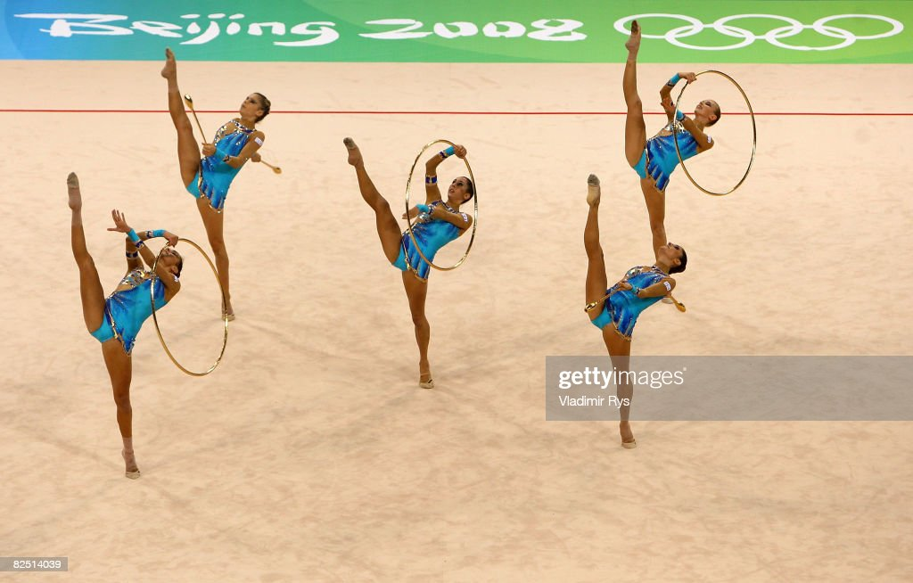 Team Italy competes in the Group All-Around Qualification round of the Rhythmic Gymnastics event at the Beijing University of Technology Gymnasium on Day 14 of the Beijing 2008 Olympic Games on August 22, 2008 in Beijing, China.