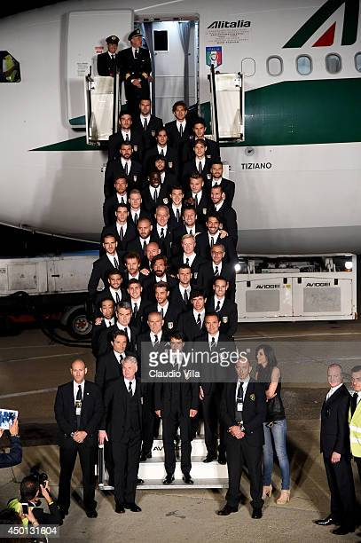 Team Italy departs to brazil at the Fiumicino Airport on June 5 2014 in Rome Italy