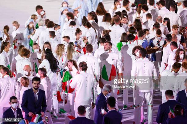 Team Italy during the Opening Ceremony of the Tokyo 2020 Olympic Games at Olympic Stadium on July 23, 2021 in Tokyo, Japan.