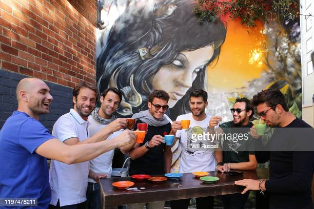 Team Italy enjoy coffee during a visit The Cheeky Sparrow during day two of the 2020 ATP Cup Group Stage at RAC Arena on January 04 2020 in Perth...