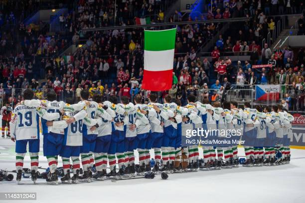 Team Italy lines up for national anthem after the 2019 IIHF Ice Hockey World Championship Slovakia group game between Austria and Italy at Ondrej...