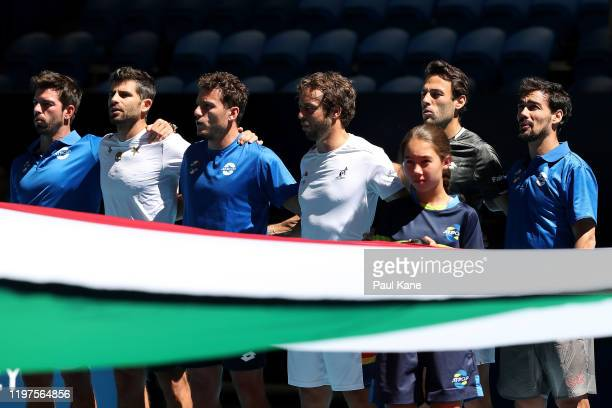 Team Italy stand for the Italian national anthem before their tie against Team Norway during day three of the 2020 ATP Cup Group Stage at RAC Arena...