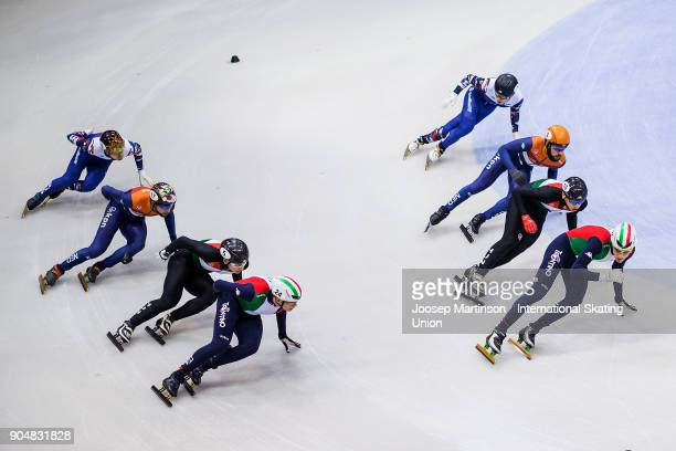 Team Italy team Hungary team Netherlands and team Russia compete in the Men's 5000m Relay final during day three of the European Short Track Speed...