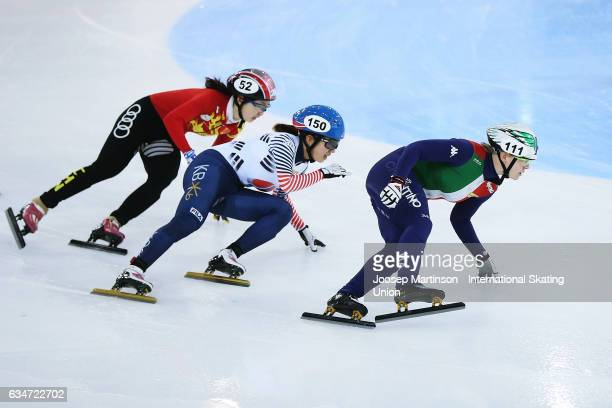 Team Italy team Korea and team China compete in the Ladies 3000m relay semi final during day one of the ISU World Cup Short Track at Minsk Arena on...