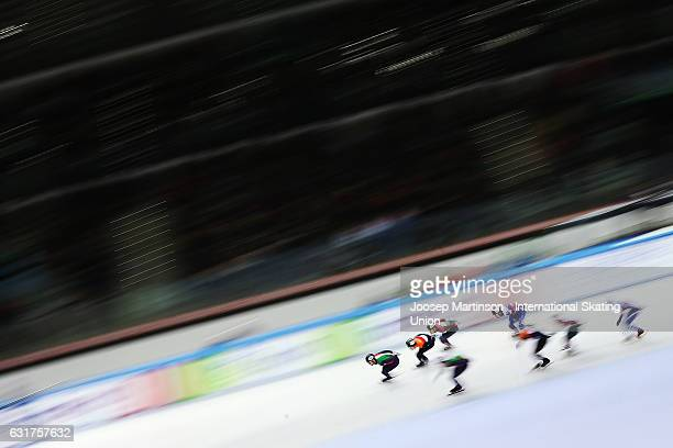 Team Italy team Netherlands team Hungary and team Russia compete in the Men's 5000m relay final during day 2 of the European Short Track Speed...