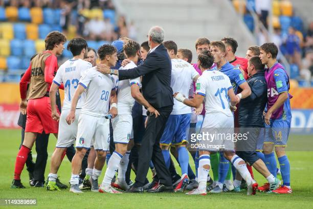 Team Italy Vs Team Ukraine are seen fighting after the FIFA U-20 World Cup match between Ukraine and Italy in Gdynia. .