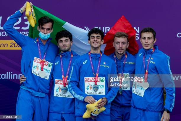 Team Italy with Alessandro Moscardi, Edoardo Scotti, Riccardo Meli and Alessando Sibilo pose with the silver medal after Men's 4 x 400m Relay Final...