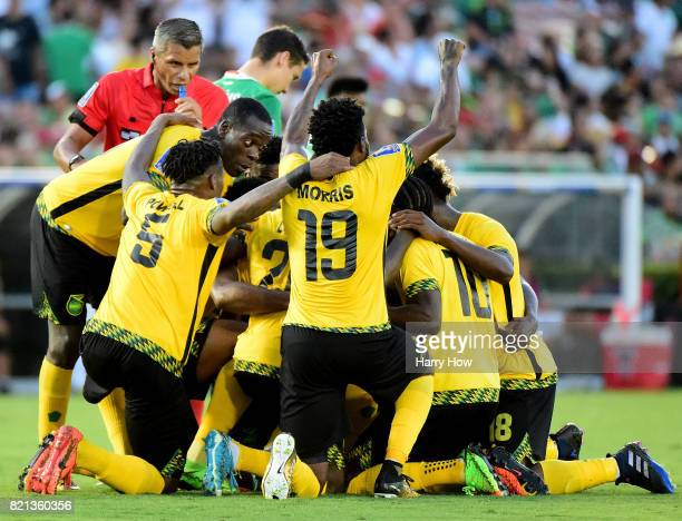 Team Jamaica celebrate a goal from Kemar Lawrence to take a 10 lead over Mexico during the CONCACAF 2017 semifinal at Rose Bowl on July 23 2017 in...