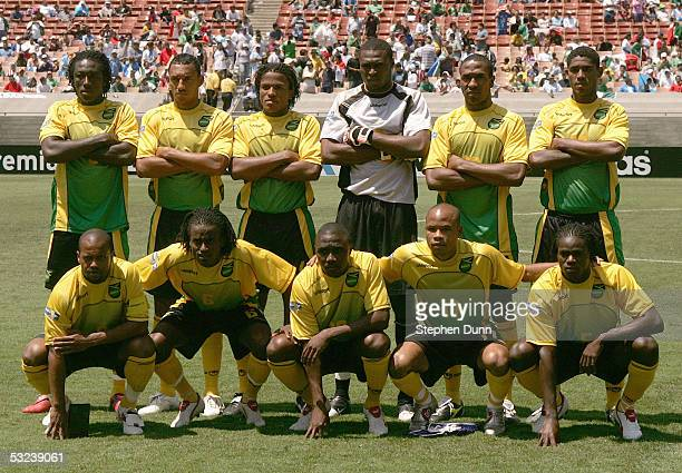 Team Jamaica pose for a team photo prior to a match against South Africa on July 10 2005 during the CONCACAF Gold Cup at the Los Angeles Memorial...
