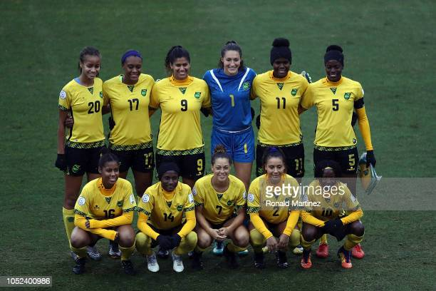 Team Jamaica poses for a photo before play against Panama during the CONCACAF Women's Championship third place match at Toyota Stadium on October 17...