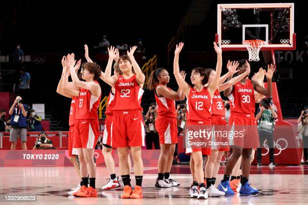 Team Japan acknowledges the crowd following the Women's Basketball final game between Team United States and Team Japan on day sixteen of the 2020...