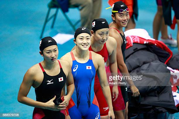 Team Japan celebrate after the Women's 4 x 200m Freestyle Relay Final on Day 5 of the Rio 2016 Olympic Games at the Olympic Aquatics Stadium on...