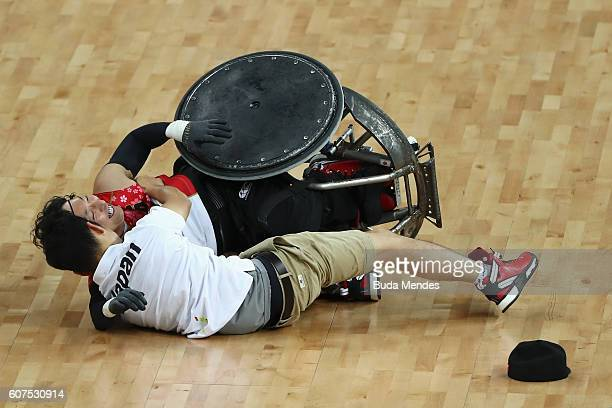 Team Japan celebrates victory against Canada in the Men's Wheelchair Rugby Bronze Medal match on day 11 of the Rio 2016 Paralympic Games at Carioca...
