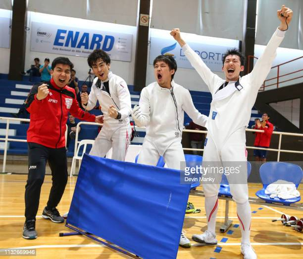 Team Japan celebrates winning the gold medal during the team competition at the Men's Epee World Cup on March 24 2019 at the Centro Nacional De Alto...