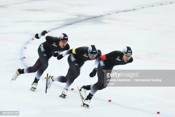 Team Japan compete in the men's team pursuit during day three of the World Junior Speed Skating Championships at Oulunkyla Sports Park on February 19...