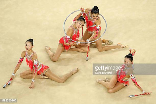 Team Japan competes during the Group AllAround Final on Day 16 of the Rio 2016 Olympic Games at Rio Olympic Arena on August 21 2016 in Rio de Janeiro...