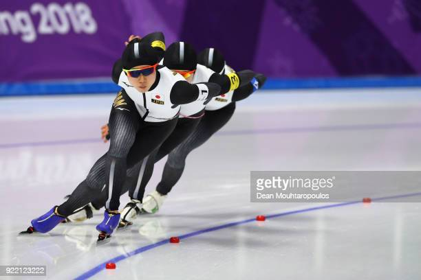 Team Japan competes during the Speed Skating Ladies' Team Pursuit Final A against the Netherlands on day 12 of the PyeongChang 2018 Winter Olympic...