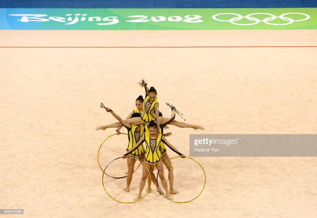 Team Japan competes in the Group All-Around Qualification round of the Rhythmic Gymnastics event at the Beijing University of Technology Gymnasium on Day 14 of the Beijing 2008 Olympic Games on August 22, 2008 in Beijing, China.