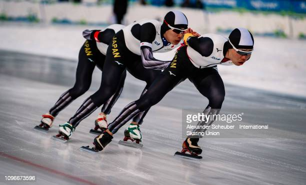 Team Japan competes in the Mens Team Pursuit sprint race during the ISU Junior World Cup Speed Skating Final day 1 on February 9 2019 in Trento Italy