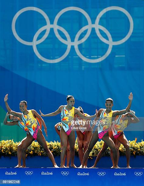 Team Japan competes in the Synchronised Swimming Teams Free Routine on Day 14 of the Rio 2016 Olympic Games at the Maria Lenk Aquatics Centre on...