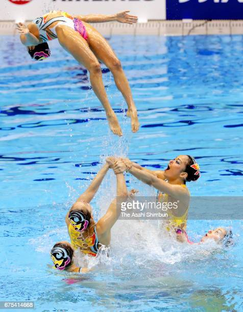 Team Japan competes in the team free routine during day three of the Japan Open FINA Synchronised Swimming World Series Tokyo at Tokyo Tatsumi...
