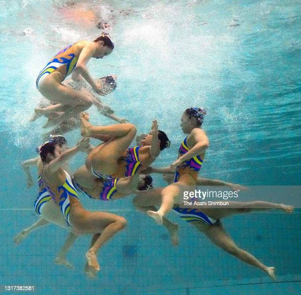 Team Japan competes in the Team Technical Routine on day one of the Artistic Swimming Japan Championships at Towa Pharmaceutical RACTAB Dome on May...