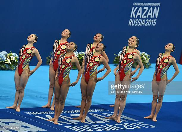 Team Japan competes in the Women's Team Technical final during the synchronised swimming competition at the 2015 FINA World Championships in Kazan on...