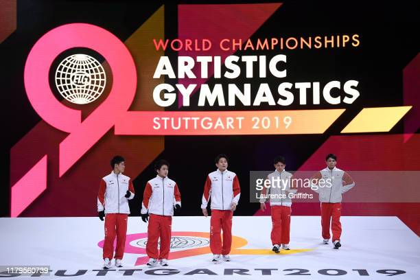 Team Japan enter the Arena ahead of Men's Qualification on Day 4 of the FIG Artistic Gymnastics World Championships on October 07 2019 in Stuttgart...