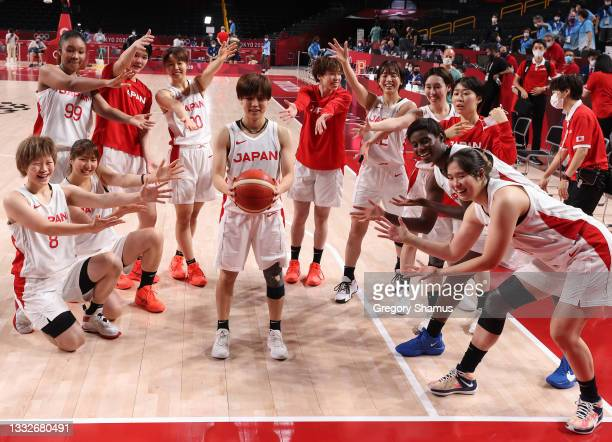 Team Japan honors Rui Machida after she broke Japan's all-time assist record in a Women's Basketball Semifinals game between Team Japan and Team...