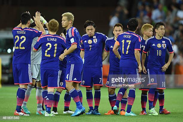 Team Japan huddle before the second half during the 2015 Asian Cup match between Japan and Jordan at AAMI Park on January 20 2015 in Melbourne...