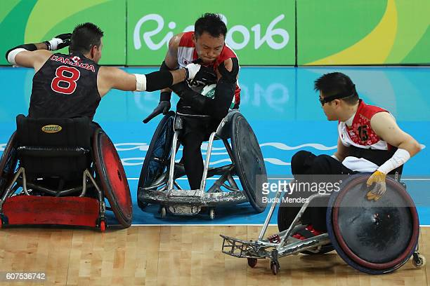 Team Japan in action during the Men's Wheelchair Rugby Bronze Medal match against Canada on day 11 of the Rio 2016 Paralympic Games at Carioca Arena...