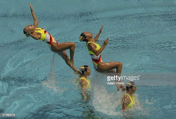 Team Japan in action during the preliminaries of the team technical routine for Synchronised Swimming during the 2003 World Swimming Championships at...