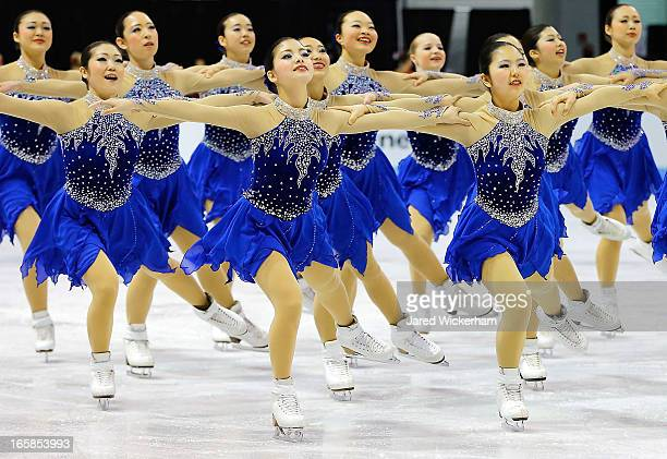 Team Japan performs during the free skating competition of the ISU World Synchronized Skating Championships at Agganis Arena on April 6 2013 in...