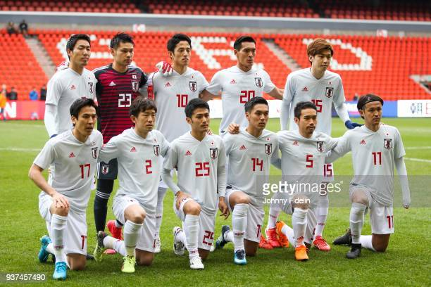 Team Japan pose before the International friendly match between Japan and Mali on March 23 2018 in Liege Belgium