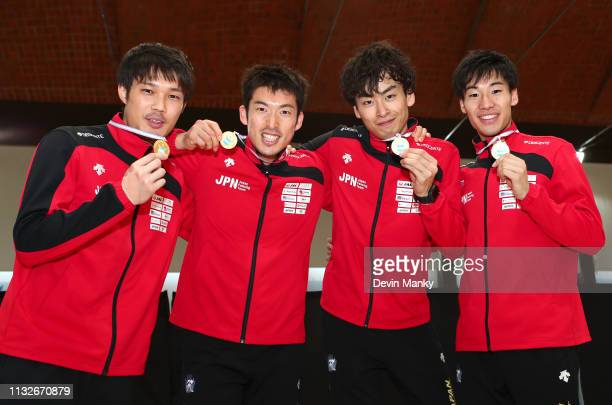 Team Japan pose with their gold medals won during the team competition at the Men's Epee World Cup on March 24 2019 at the Centro Nacional De Alto...