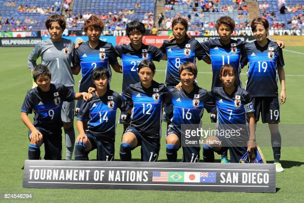 Team Japan poses for a photo prior to a match against Australia during the 2017 Tournament of Nations at Qualcomm Stadium on July 30 2017 in San...