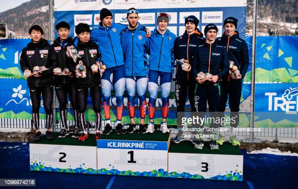 Team Japan Team Russia and Team Netherland celebrate in the Mens Team Pursuit sprint race during the ISU Junior World Cup Speed Skating Final day 1...