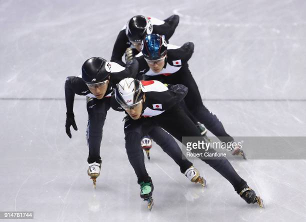 Team Japan train during Short Track Speed Skating practice ahead of the PyeongChang 2018 Winter Olympic Games at Gangneung Ice Arena on February 6...