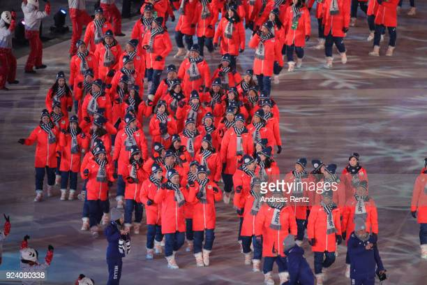 Team Japan walks during the Parade of Athletes during the Closing Ceremony of the PyeongChang 2018 Winter Olympic Games at PyeongChang Olympic...