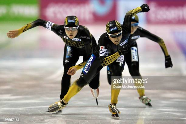 Team Japan with Masako Hozumi Ayaka Kikuchi and Miho Takagi compete in the Team Pursuit Ladies on the final day of the Essent ISU World Cup Speed...