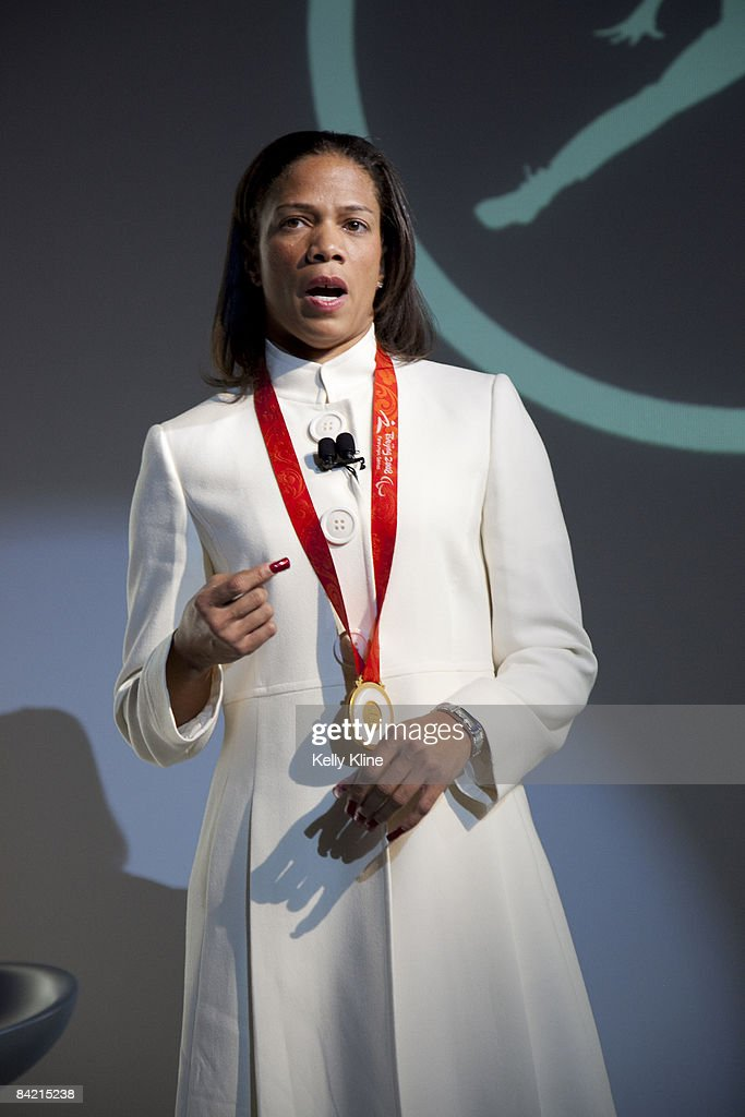 Team Jordan Athlete and US paralympian April Holmes addresses the media during the launch of the Air Jordan 2009 at The Event Space on January 8, 2009 in New York City.