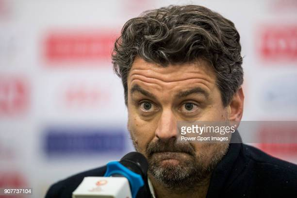 Team Jordan manager Iain Brunskill talks to media during the post match press conference of the AFC U23 Championship China 2018 Group C match between...