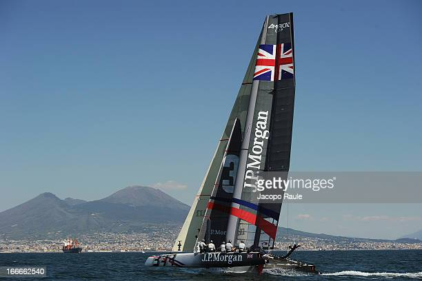 Team JP Morgan BAR skippered by British Olympic gold medalist Ben Ainslie sails during a training session in front of Vesuvius ahead of the AC World...
