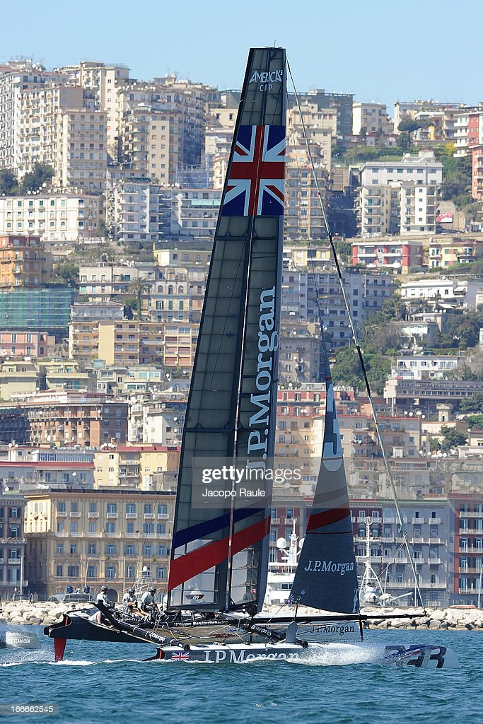 Team J.P. Morgan BAR skippered by British Olympic gold medalist Ben Ainslie sails during a training session ahead of the AC World Series Naples on April 15, 2013 in Naples, Italy.