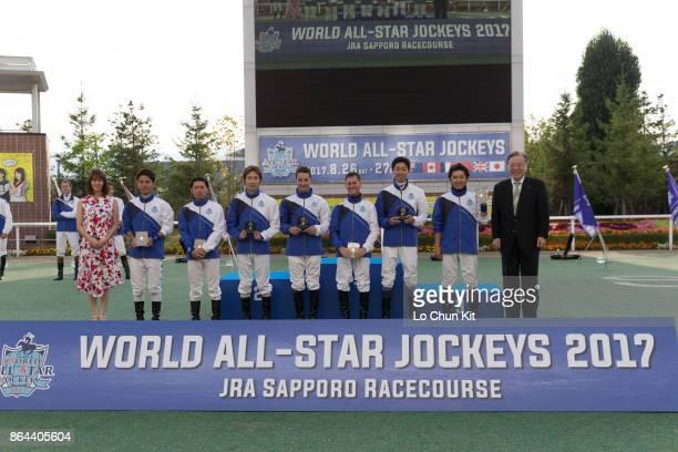 Team JRA claim the World AllStar Jockeys team title for three consecutive years at Sapporo Racecourse on August 27 2017 in Sapporo Hokkaido Japan