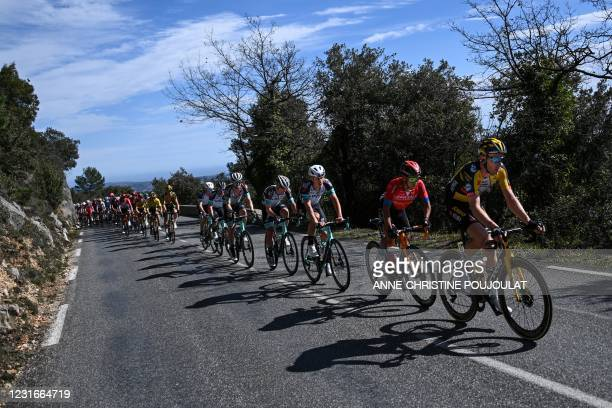 Team Jumbo rider Netherlands' Jos van Emden rides in the pack during the 6th stage of the 79th Paris - Nice cycling race, 202.5 km between Brignoles...