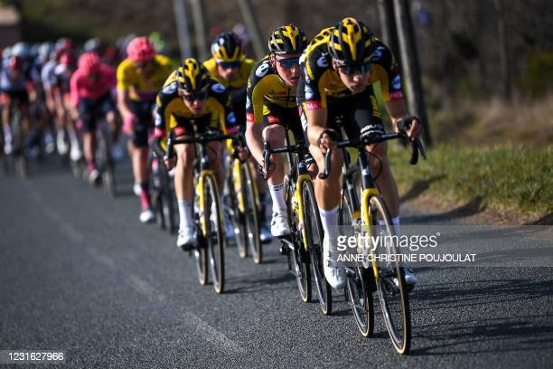 Team Jumbo rider Netherlands' Sam Oomen competes in the pack during the 4th stage of the 79th Paris - Nice cycling race, 187.5 km between...