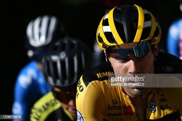 Team Jumbo rider Netherlands' Tom Dumoulin rides during the 2nd stage of the 107th edition of the Tour de France cycling race, 187 km between Nice...