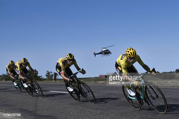 Team Jumbo rider Slovenia's Primoz Roglic and his teammates ride during the 14th stage of the 107th edition of the Tour de France cycling race, 197...