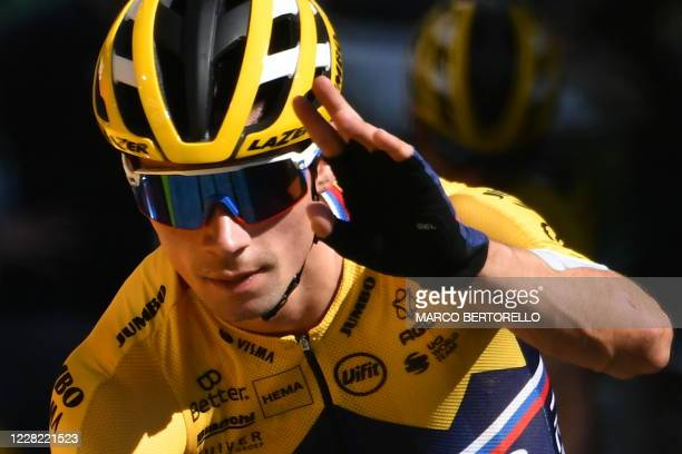 TOPSHOT Team Jumbo rider Slovenia's Primoz Roglic attends a training session two days before the start of the 1st stage of the 107th edition of the...